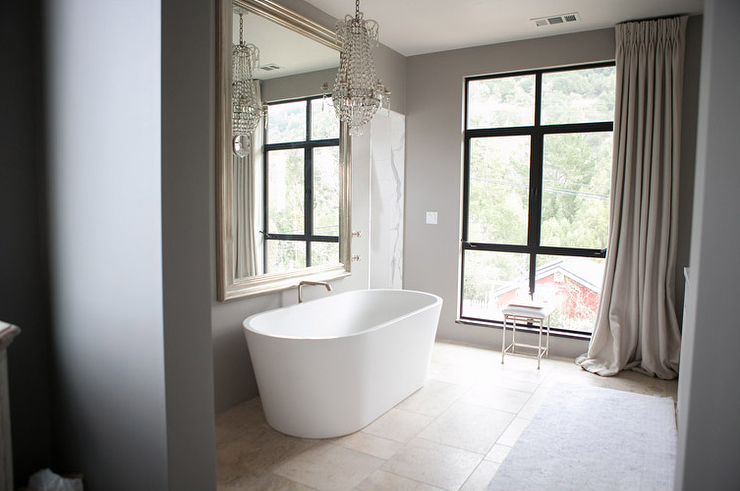 Bathroom Mirrors Over Windows mirror over bathtub - transitional - bathroom - tomas pearce