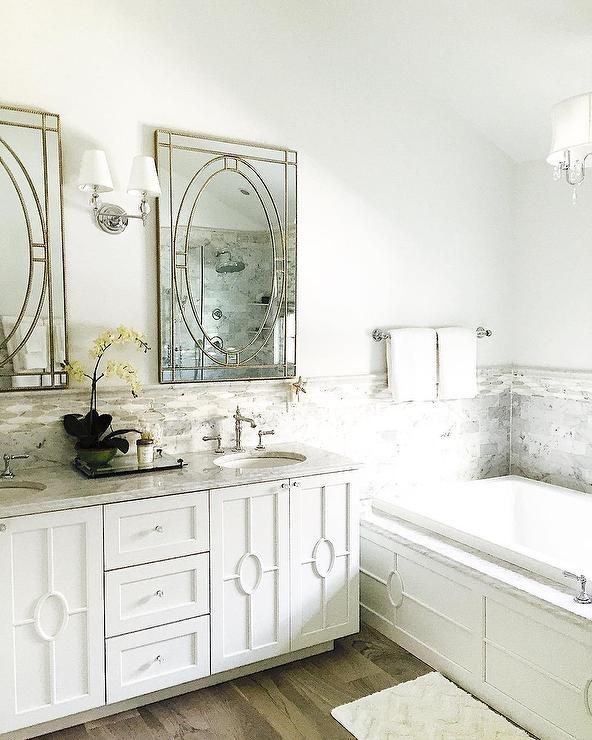 White And Gray Bathroom With Farrah Nailhead Edge Mirrors Transitional Bathroom