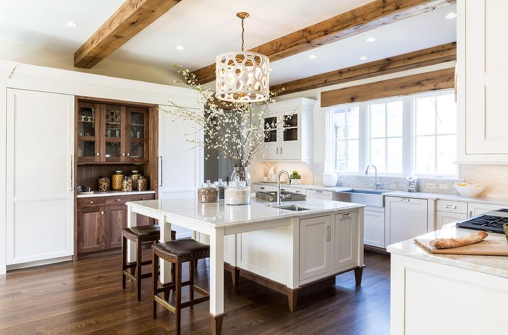 White Kitchen Oak white kitchen island with oak trim design ideas