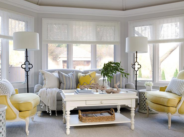 Exceptionnel Yellow And Gray Sunroom With Suzanne Kasler Quatrefoil Floor Lamps