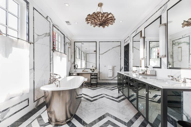 Black Mirrored Bathroom Vanity With Black And White Marble Herringbone Tile  Floor