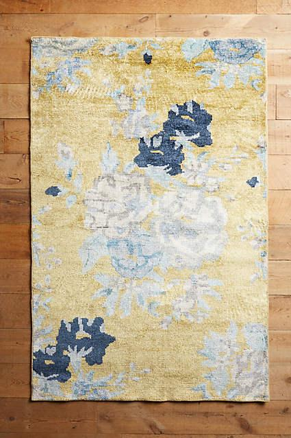 Blue And Yellow Floral Needlepoint Rug