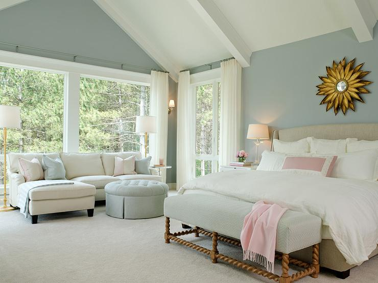 blue bedroom with blue herringbone bench transitional bedroom