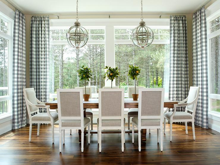 Delightful ... Square Back French Dining Chairs Illuminated By Restoration Hardware  Victorian Hotel Pendants Surrounded By Windows Dressed In Blue Gingham  Curtains.