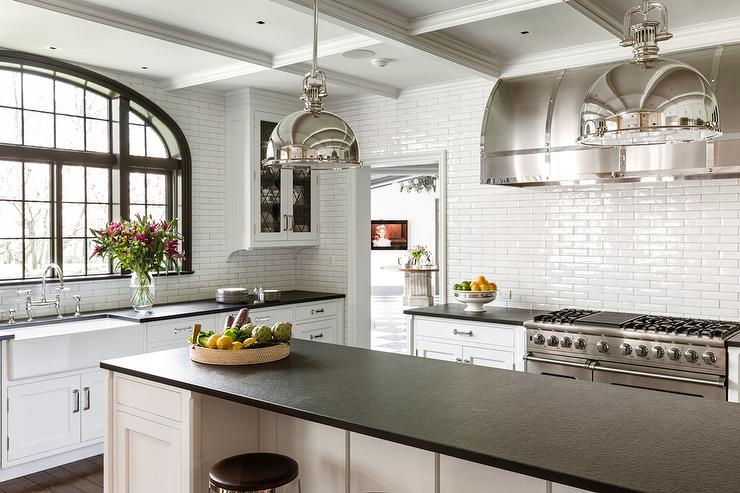 with large shades with long kitchen island transitional kitchen