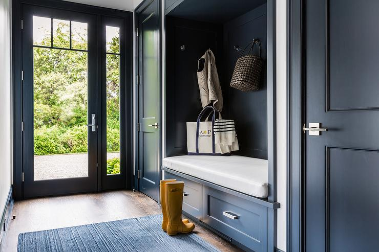 Dark Blue Mudroom With Dark Blue Built In Bench Fitted With Drawers Contemp