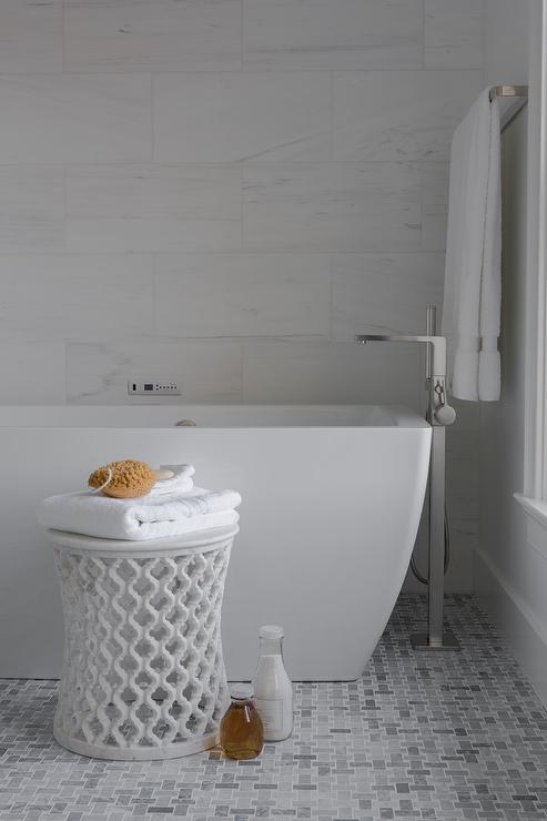 Modern Freestanding Tub With Gray Marble Maze Floor Tiles