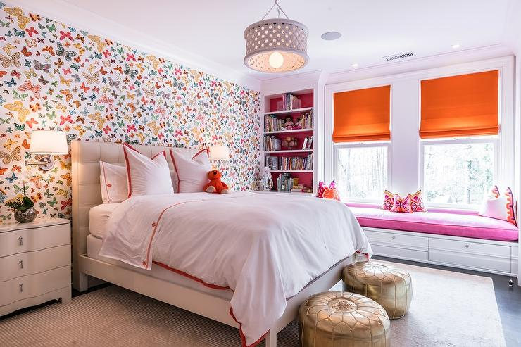 Pink and orange girl bedroom with lulu dk butterfly multi wallpaper contemporary girl 39 s room Wallpaper for teenage girl bedroom
