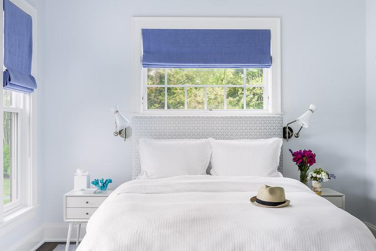 Silver Gray And Blue Bedroom With Jonathan Adler Havana Wall Sconces