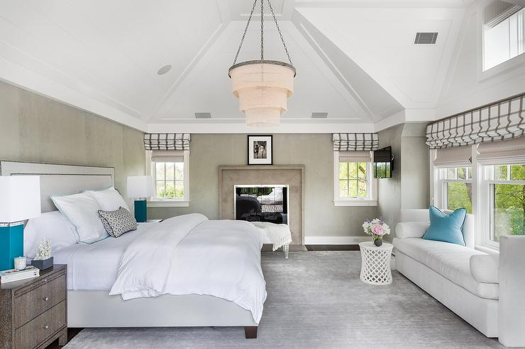 Well-known Light Gray Nailhead Bed Faces a White Chaise Lounge with Turquoise  IS62