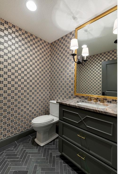 Charcoal Gray Slate Herringbone Tiles Design Ideas