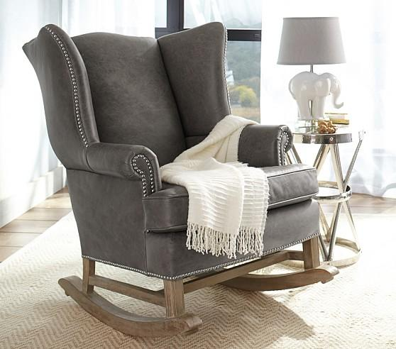 Pleasant Grey Leather Thatcher Rocker Customarchery Wood Chair Design Ideas Customarcherynet