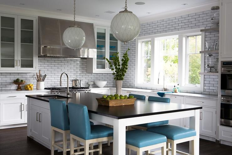 Long KItchen Island as Dining Table with Blue Leather Stools