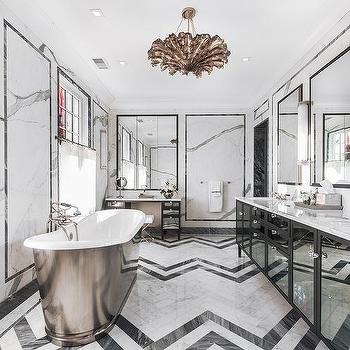 black and white marble tile floor. Black Mirrored Bathroom Vanity With And White Marble Herringbone Tile  Floor And Design Ideas