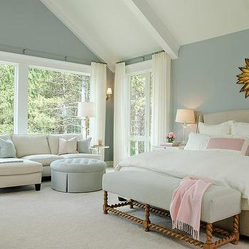 pale blue bedroom walls with white beaded mirror over