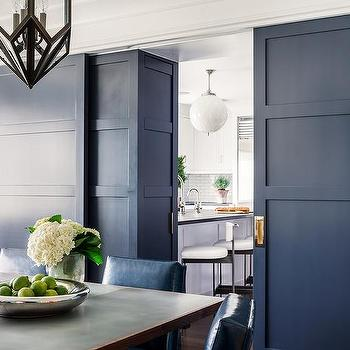 Blue Interior Doors With Brass Hardware