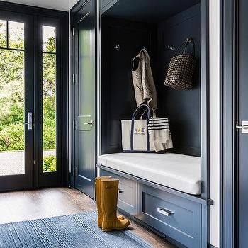 Dark Blue Mudroom With Dark Blue Built In Bench Fitted With Drawers