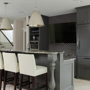 Superieur Basement Wet Bar With Dark Gray Cabinets And Gray Granite Countertops
