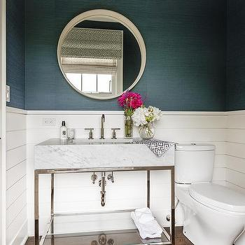 White Shiplap Powder Room Walls Design Ideas