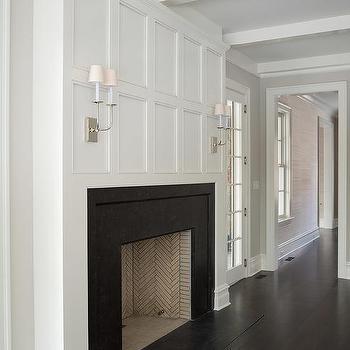 White Greek Key Fireplace Mantle With Black Herringbone