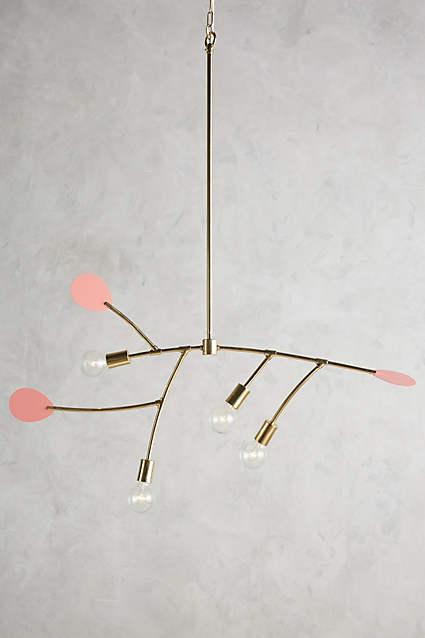 And gold lacquered mobilesque chandelier pink and gold lacquered mobilesque chandelier aloadofball