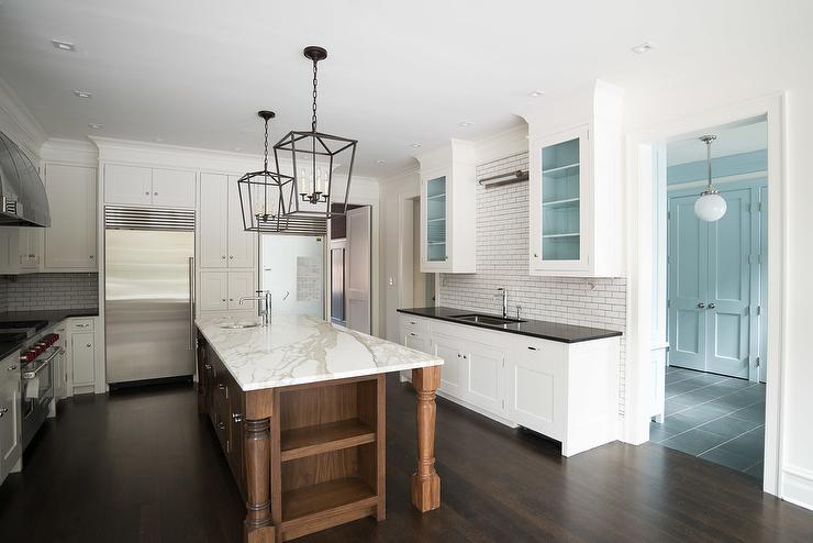 White Kitchen With Coffee Stained Island Transitional