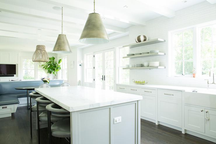 Floating Cabinets Kitchen white kitchen with gray floating shelves - transitional - kitchen