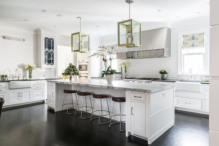 Ordinaire White Kitchen With Blue And Green Accents