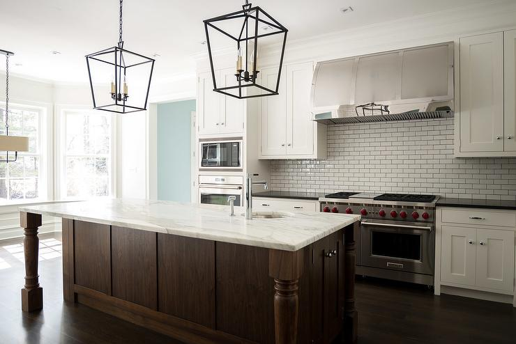 White And Brown Kitchen With Darlana Medium Lanterns