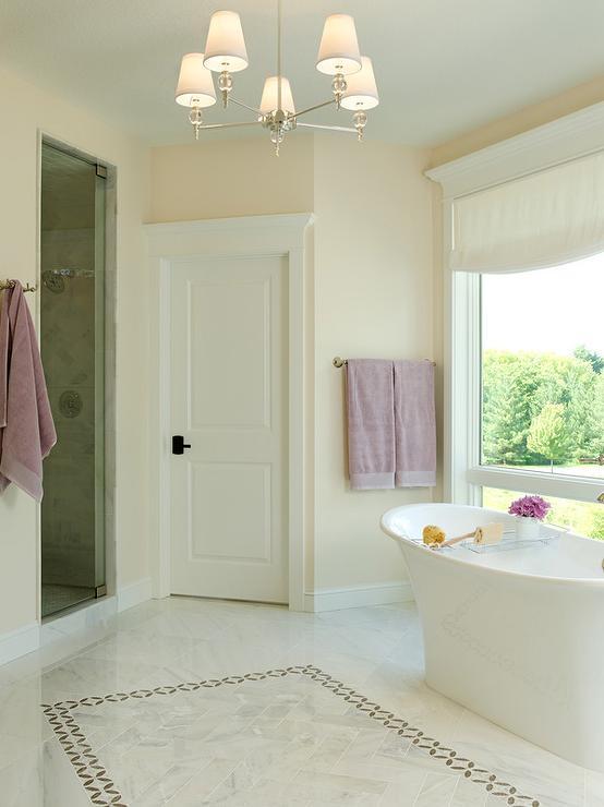 White Bathroom Border Tiles white marble herringbone floor tiles with gray border tiles