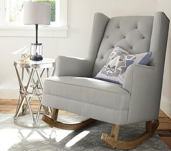 Pleasant Modern Grey Tufted Wingback Convertible Rocker Gamerscity Chair Design For Home Gamerscityorg