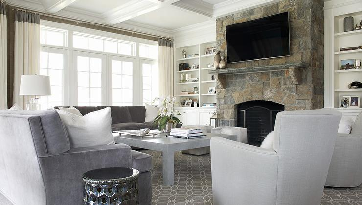 Gray Velvet Sofa With White Pillows