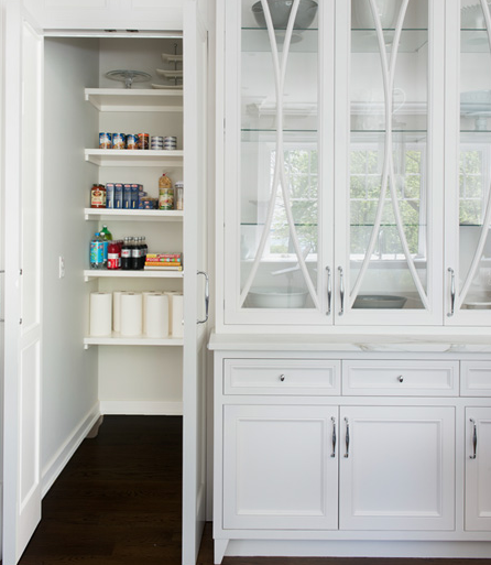 Kitchen Pantry With Built In Floating Desk Transitional