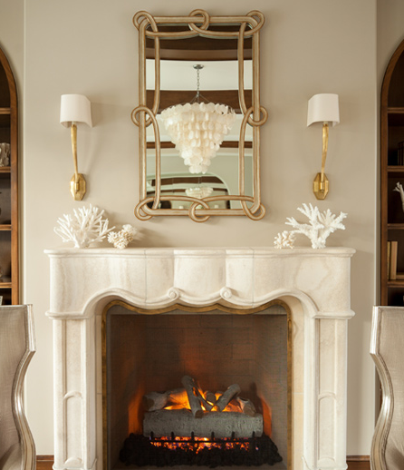 French Marble Fireplace with Ruhlmann Single Sconces