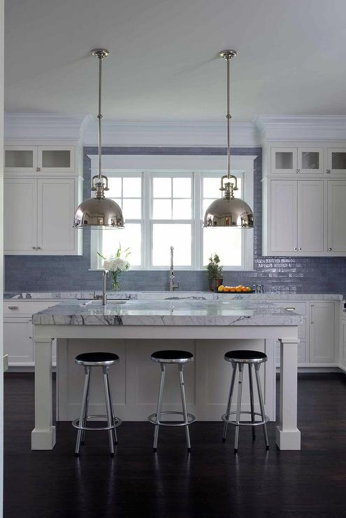 White And Blue Kitchen With Glazed Blue Tiles Up To Ceiling