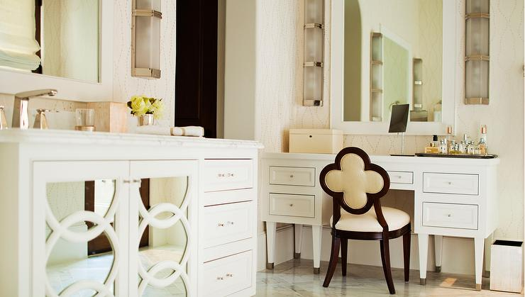 Ivory Makeup Vanity With Ivory Quatrefoil Vanity Chair