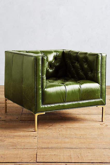 Leather Upholstered Tufted Green Armchair