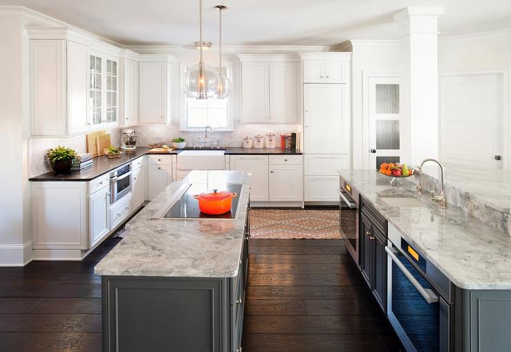 Charmant Arteriors Caviar Pendants Over Long Gray Kitchen Island