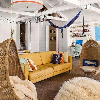 Beachside Living Room With White Truss Ceiling And Hanging Rattan Pod Chairs Part 35