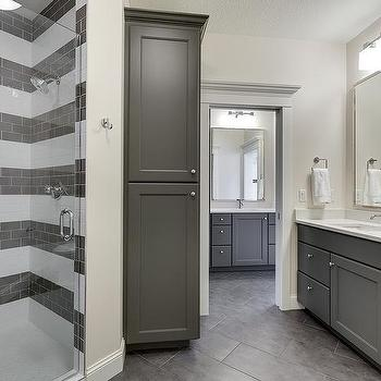 White And Gray Striped Bathroom Tiles Design Ideas