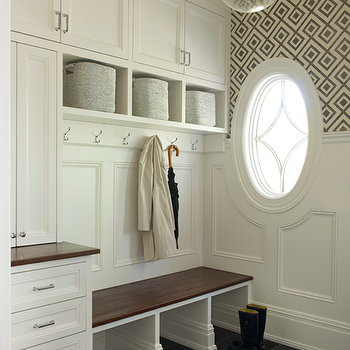 Mudroom With Wallpaper And Beaboard Wainscoting Cottage