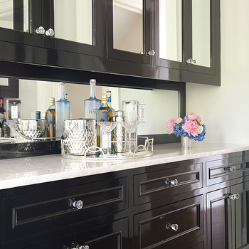 Glossy Black Butler Pantry Cabinets With Mirrored Cabinet Doors