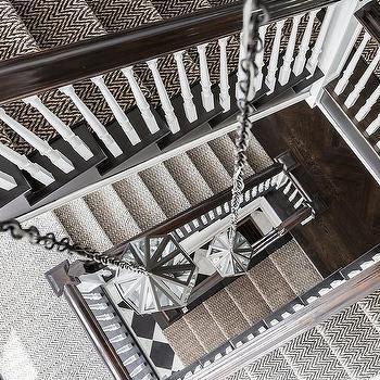 Gray Herringbone Jute Staircase Runner With Staggered Lanterns