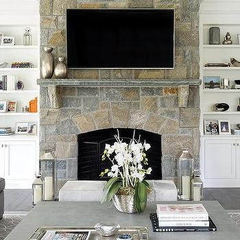 Living Room With Fireplace And Helves living room fireplace built in shelf with flat panel tv - cottage