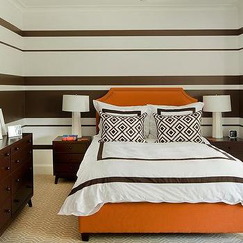 Incroyable Brown And Orange Bedroom With Brown Striped Walls