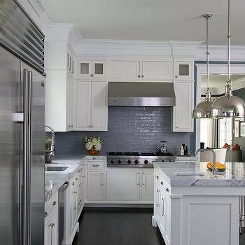 White And Blue Kitchen With Glazed Blue Tiles Up To