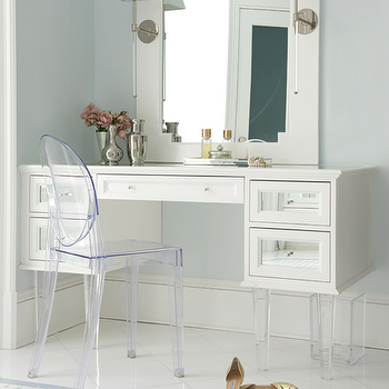 White Makeup Vanity With Mirrored Drawers And Lucite Legs