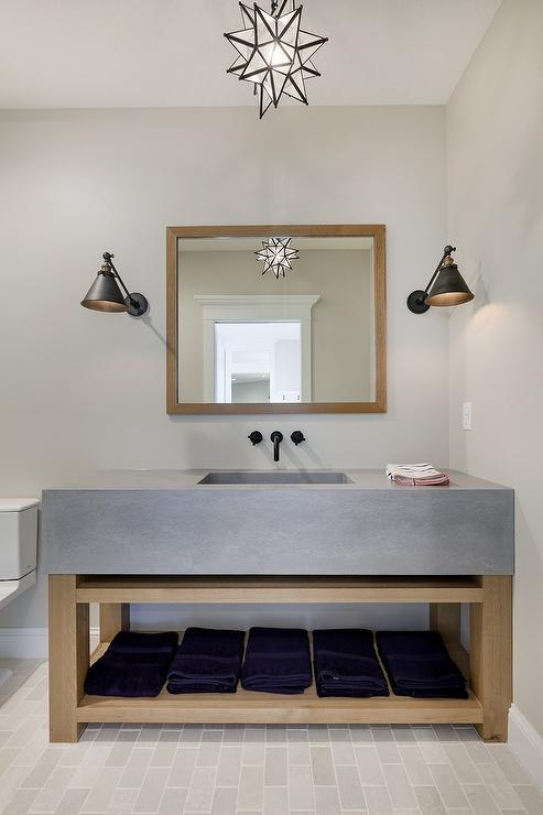 Wood and concrete washstand with moravian star pendant wood and concrete washstand with moravian star pendant aloadofball Image collections