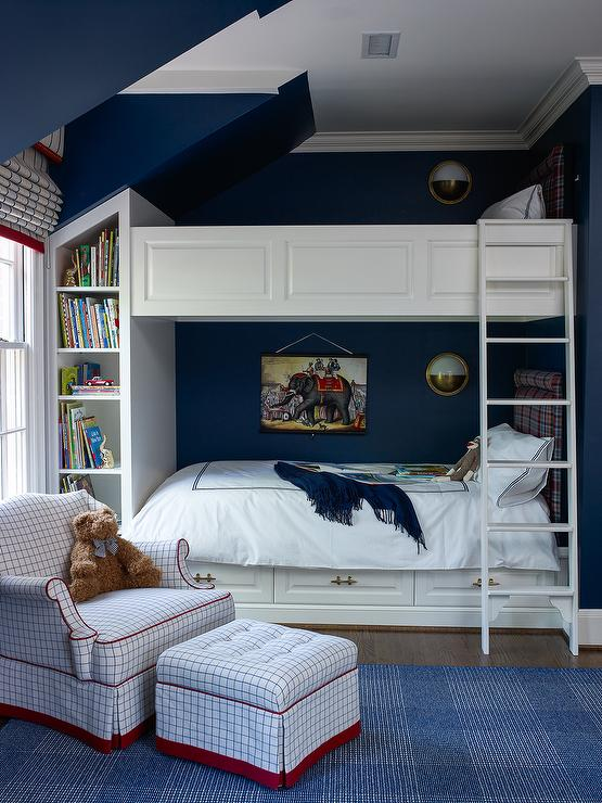 Navy Boys Bedroom With Wainscoted Bunk Beds Transitional