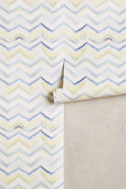 Watercolor blue and yellow chevron wallpaper for Blue chevron wallpaper